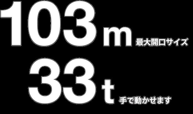 最大開口サイズ103m 手で動かせます33t
